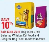 Selected Whiskas Cat Food and Pedigree Dog Food