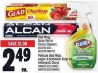Glad Wrap - Alcan Foil Or Clorox Cleaners