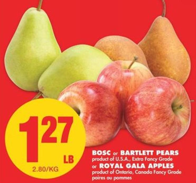 Bosc or Bartlett Pears or Royal Gala Apples