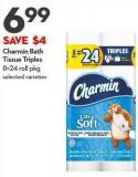 Charmin Bath  Tissue Triples 8=24 Roll Pkg