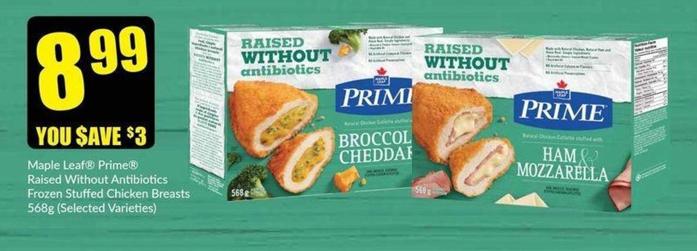 Maple Leaf Prime Raised Without Antibiotics Stuffed Chicken Breasts 568g (Selected Varieties)