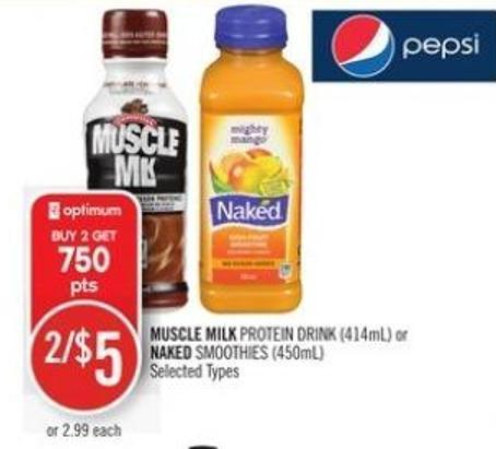 Muscle Milk Protein Drink (414ml) or Naked Smoothies (450ml)