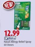 Option+  Nasal Allergy Relief Spray  60 Doses