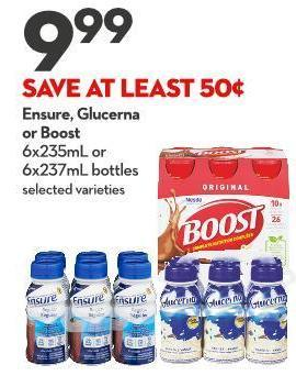 Ensure - Glucerna  or Boost 6x235ml or  6x237ml Bottles