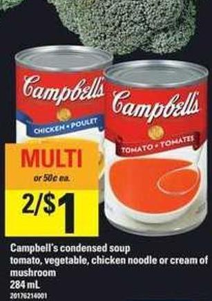 Campbell's Condensed Soup Tomato - Vegetable - Chicken Noodle Or Cream Of Mushroom - 284 Ml
