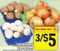 Whole White Or Cremini Mushrooms Or Yellow Onions
