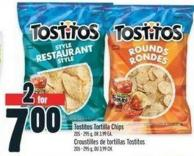 Tostitos Tortilla Chips 205 - 295 g - Or 3.99 Ea.