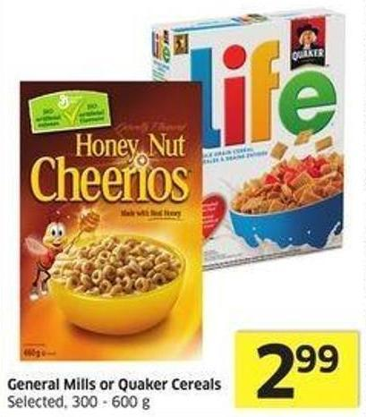 General Mills or Quaker Cereals Selected - 300 - 600 g