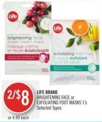 Life Brand Brightening Face or Exfoliating Foot Masks