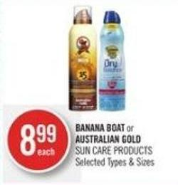 Banana Boat or Australian Gold Sun Care Products