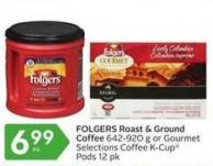 Folgers Roast & Ground Coffee 642-920 g or Gourmet Selections Coffee K-cup Pods 12 Pk