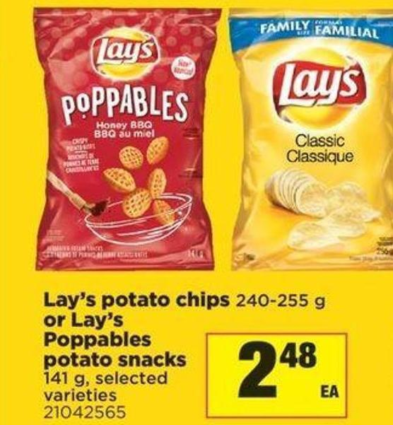 Lay's Potato Chips - 240-255 G Or Lay's Poppables Potato Snacks - 141 G