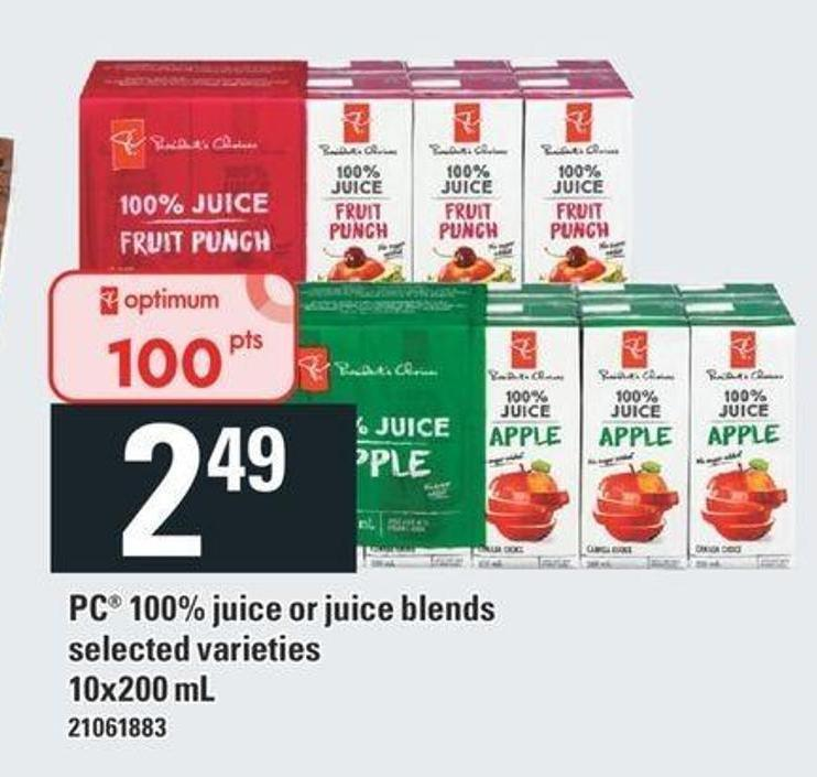 PC 100% Juice Or Juice Blends - 10x200 mL
