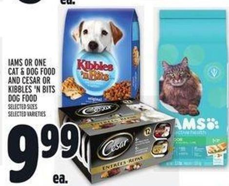 Iams Or One Cat & Dog Food And Cesar Or Kibbles 'N Bits Dog Food