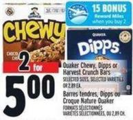 Quaker Chewy - Dipps Or Harvest Crunch Bars