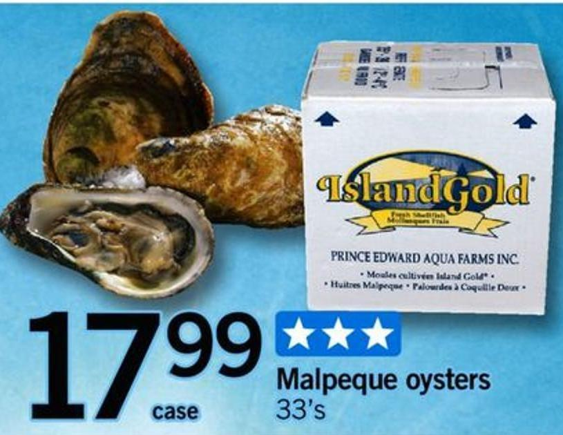 Malpeque Oysters - 33's - Case