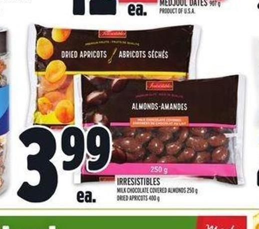 Irresistibles Milk Chocolate Covered Almonds 250 g Dried Apricots 400 g