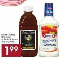 Kraft Salad Dressing or Diana Sauce 375-500 mL