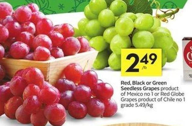 Red - Black or Green Seedless Grapes