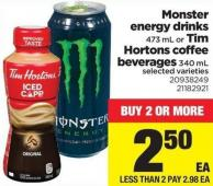 Monster Energy Drinks 473 Ml Or Tim Hortons Coffee Beverages 340 Ml