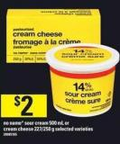 No Name Sour Cream 500 Ml Or Cream Cheese 227/250 G