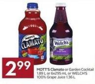 Mott's Clamato or Garden Cocktail 1.89 L or 6x295 mL or Welch's 100% Grape Juice 1.36 L