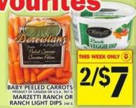 Baby Peeled Carrots Or Marzetti Ranch Or Ranch Light Dips