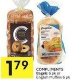Compliments Bagels 6 Pk or English Muffins 6 Pk