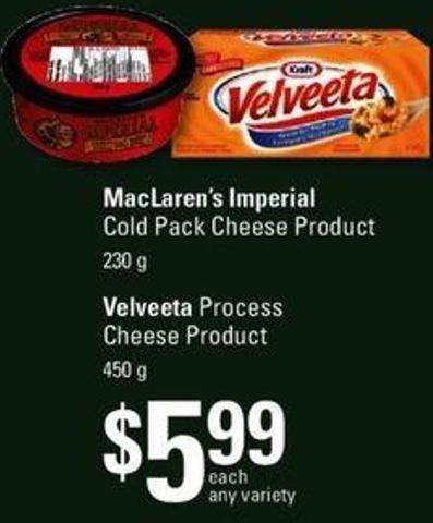 Maclaren's Imperial Cold Pack Cheese Product - 230 G Or Velveeta Process Cheese Product - 450 G