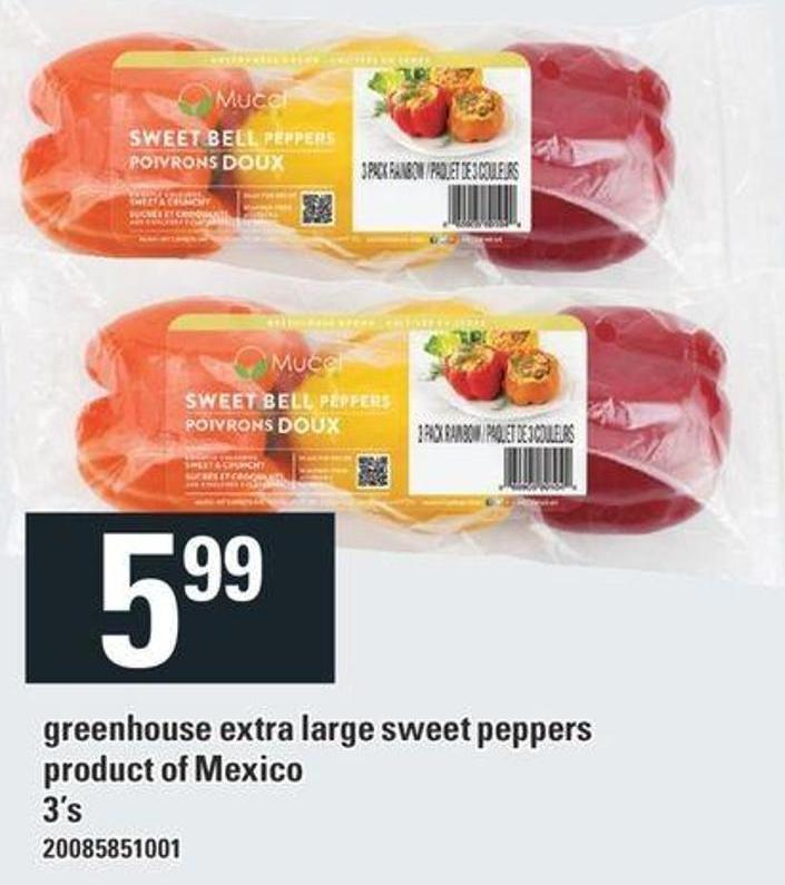Greenhouse Extra Large Sweet Peppers Product Of Mexico - 3's