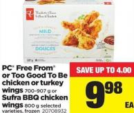 PC Free From Or Too Good To Be Chicken Or Turkey Wings - 700-907 G Or Sufra Bbq Chicken Wings - 800 G
