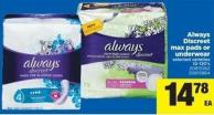 Always Discreet Max Pads Or Underwear - 10-120's