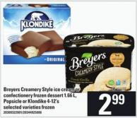 Breyers Creamery Style Ice Cream Or Confectionery Frozen Dessert - 1.66 L - Popsicle Or Klondike - 4-12's