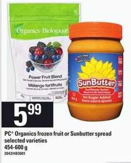 PC Organics Frozen Fruit Or Sunbutter Spread - 454-600 G