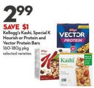 Kellogg's Kashi - Special K  Nourish or Protein and Vector Protein Bars  160-180g Pkg