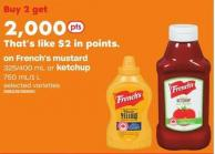 French's Mustard 325/400 Ml Or Ketchup 750 Ml/1 L