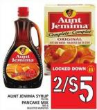 Aunt Jemima Syrup Or Pancake Mix