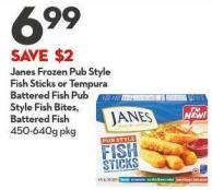 Janes Frozen Pub Style Fish Sticks or Tempura Battered Fish Pub  Style Fish Bites -  Battered Fish 450-640g