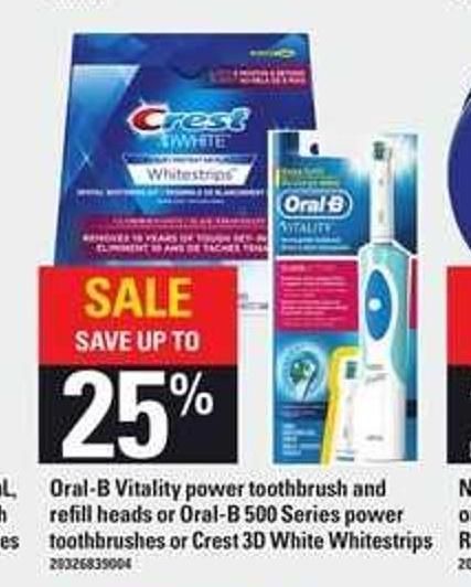 Oral-b Vitality Power Toothbrush And Refill Heads - Or Oral-b 500 Series Power Toothbrushes Or Crest 3D White Whitestrips