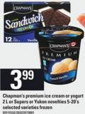 Chapman's Premium Ice Cream Or Yogurt 2 L Or Supers Or Yukon Novelties 5-20's