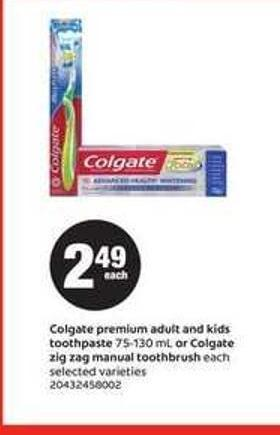 Colgate Premium Adult And Kids Toothpaste - 75 - 130 Ml Or Colgate Zig Zag Manual Toothbrush