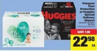 Pampers Pure Protection Or Huggies Special Delivery Diapers - 38-74's