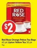 Red Rose Orange Pekoe Tea Bags 60 Pk Lipton Yellow Tea 50 Pk