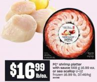 PC Shrimp Platter With Sauce 568 G Or Sea Scallop U-12 - 37.46/kg