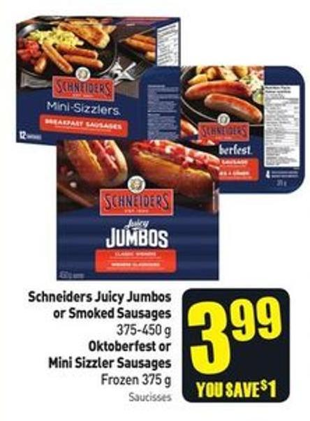 Schneiders Juicy Jumbos or Smoked Sausages 375-450 g Oktoberfest or Mini Sizzler Sausages Frozen 375 g