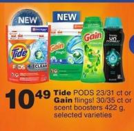 Tide PODS - 23/31 Ct Or Gain Flings! - 30/35 Ct Or Scent Boosters - 422 G