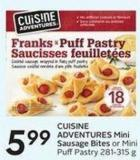 Cuisine Adventures Mini Sausage Bites or Mini Puff Pastry 281-315 g