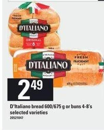 D'italiano Bread - 600/675 g Or Buns - 4-8's