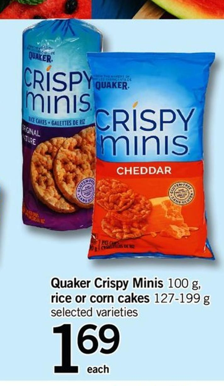 Quaker Crispy Minis - 100 G - Rice Or Corn Cakes - 127-199 G