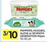Pampers - Huggies - Aleva or Seventh Generation Wipes - 50 Air Miles Bonus Miles